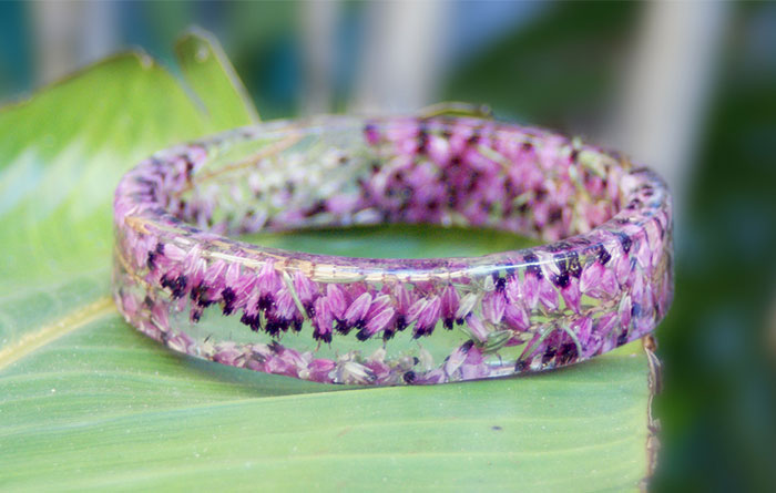 Flowers Frozen in Time Inside Handmade Resin Bracelets
