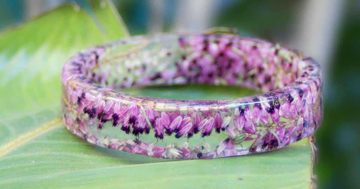 Flowers Frozen in Time Inside Handmade Resin Bracelets