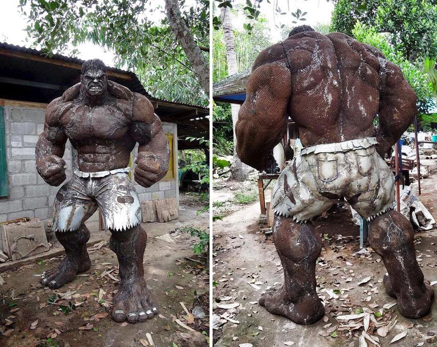 Hulk Sculpture Made Out Of Scrap Metal