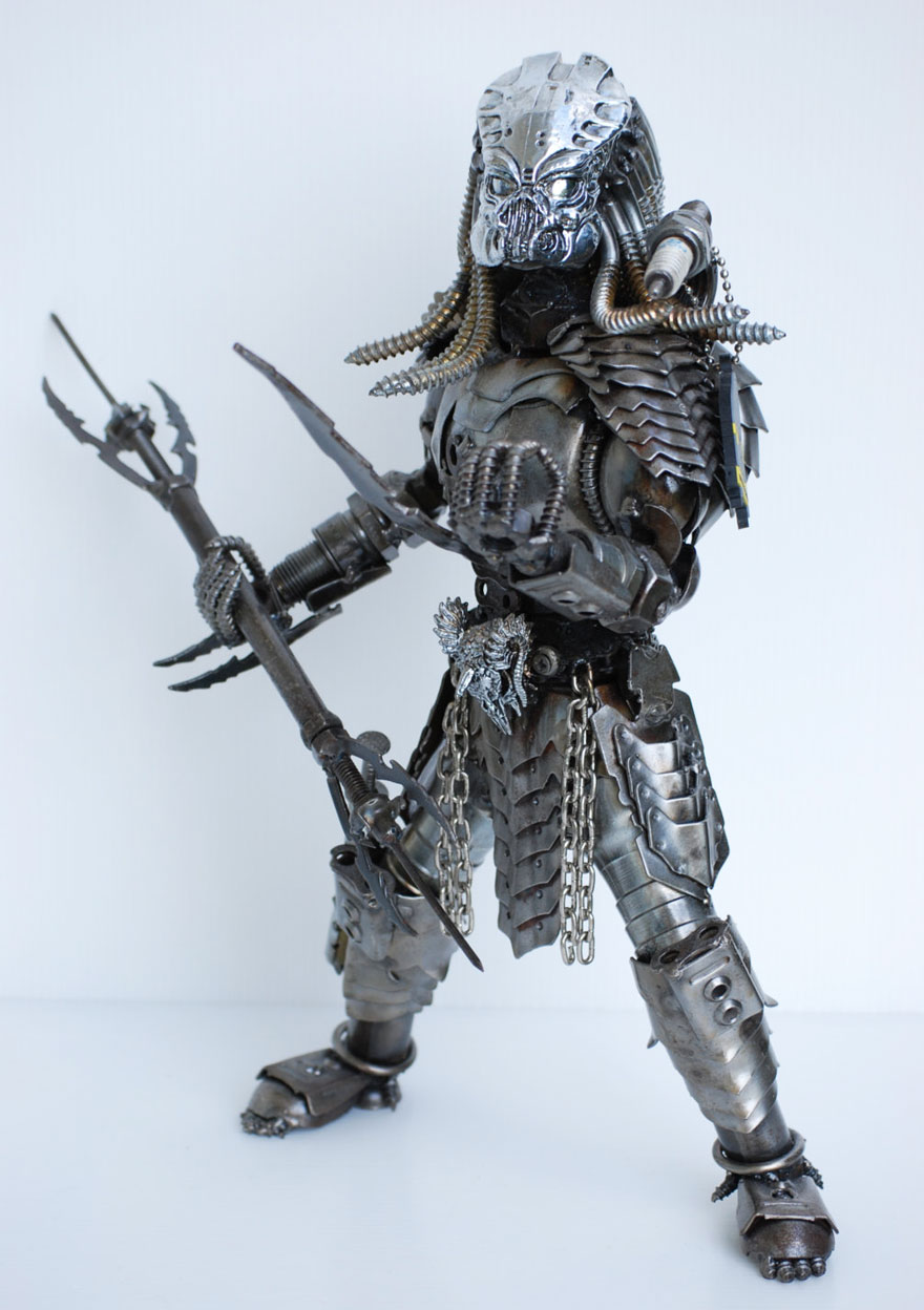 Predator Metal Model Made From Scrap/recycled Metal And Auto Parts