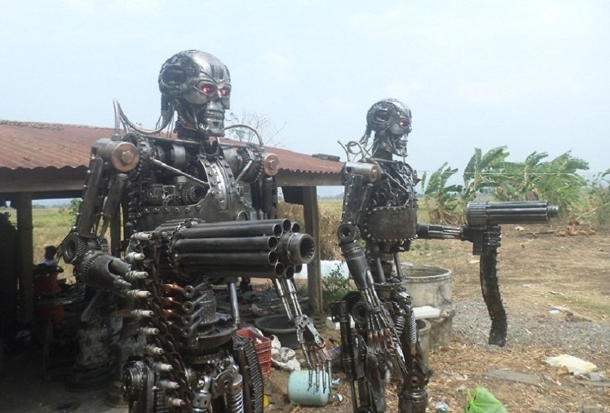 Terminator Statues, Life Size, By Scrap Metal Art Thailand