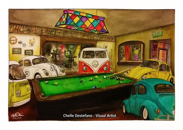 Volkswagen Bugs N Buses Playing Pub Pool!