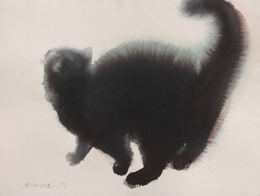 aquarela-black-gatos-tinta-paitings-endre-penovac-6