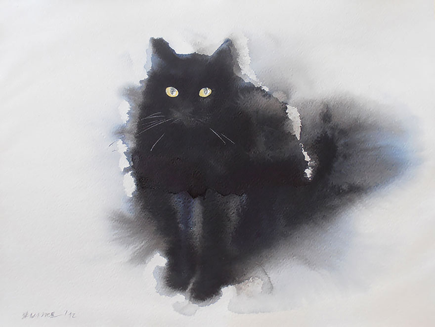 aquarela-black-gatos-tinta-paitings-endre-penovac-7
