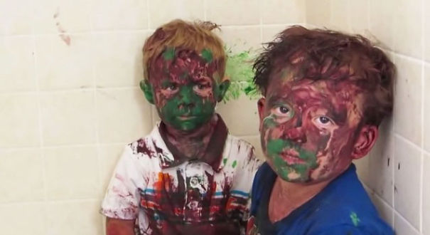 Kids Play With Paint And Get It All Over Their Faces