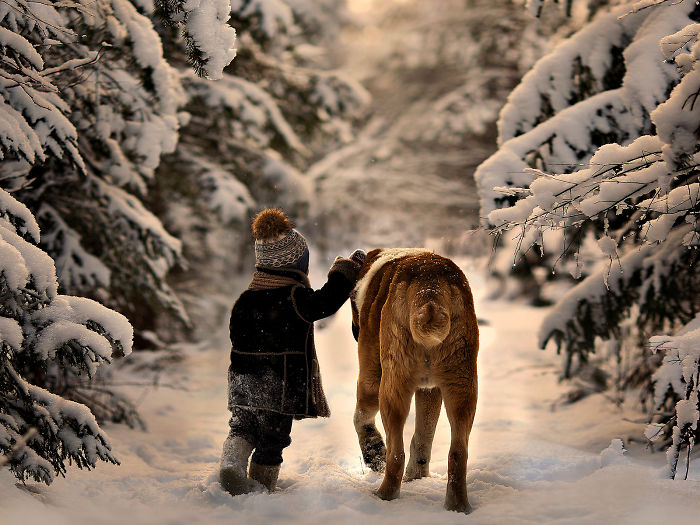 Winter Walk With Big Friend