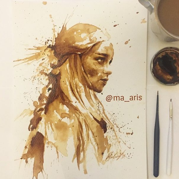 i use coffee to draw detailed paintings of my favourite