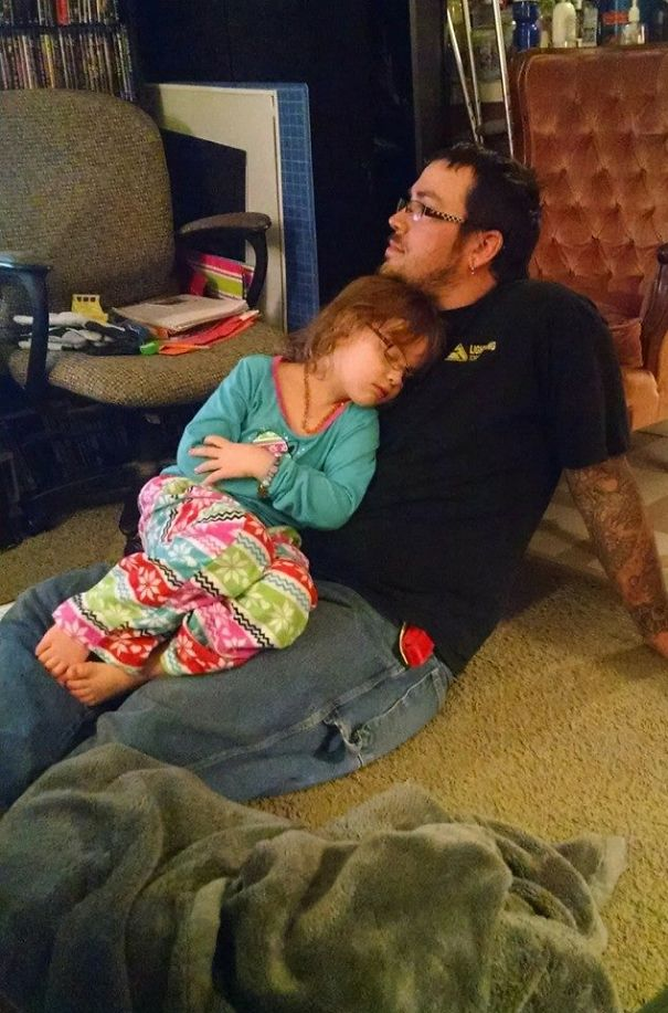 Daddy Being Used As Furniture. Daughter Wanted No One But Him.