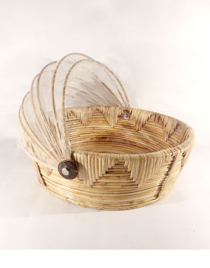 Fruit Basket Made Of Cane,bamboo And Net
