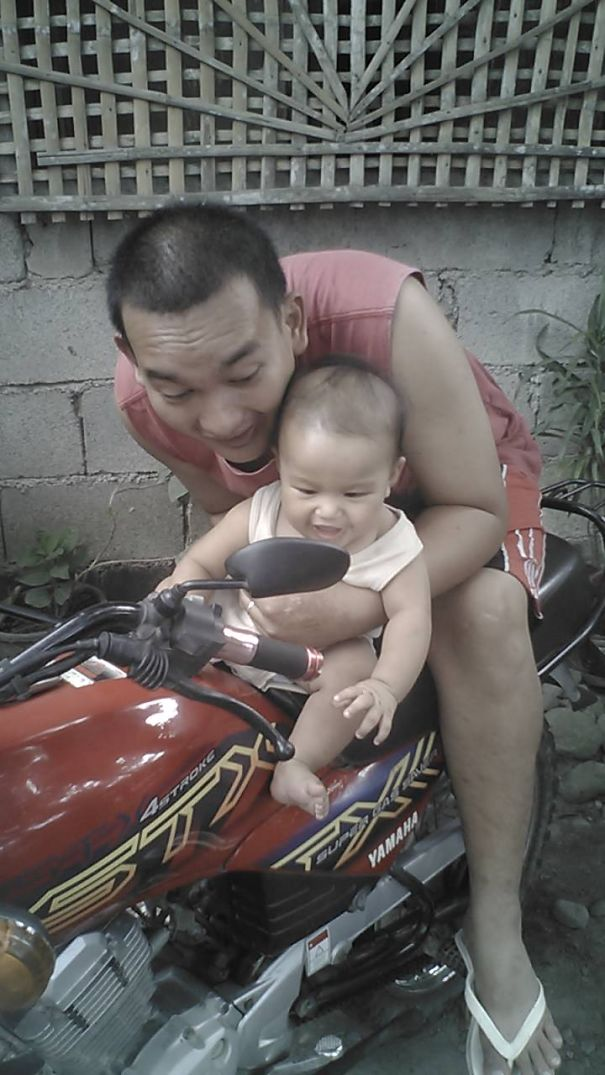 Tatay (father) Had To Play On Motorcycle To Stop Baby's Tantrums.