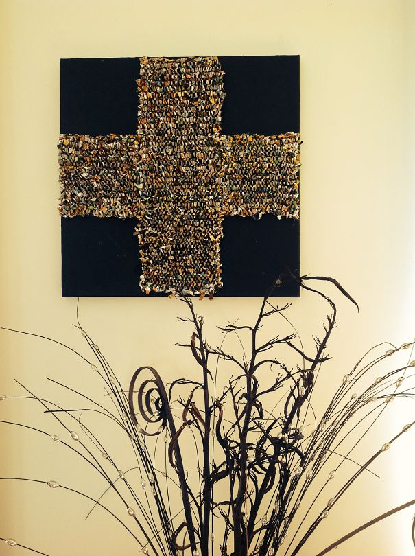 Art Made From Used Foil Coffee Bags And Recycled Canvas.
