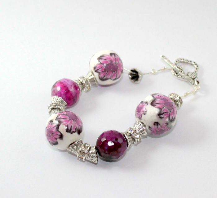 I Made This Bracelet With Polymer Clay And Fuchsia Agate.