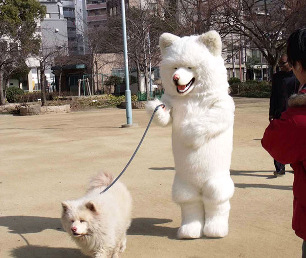 A Dog-Man Walking A Dog