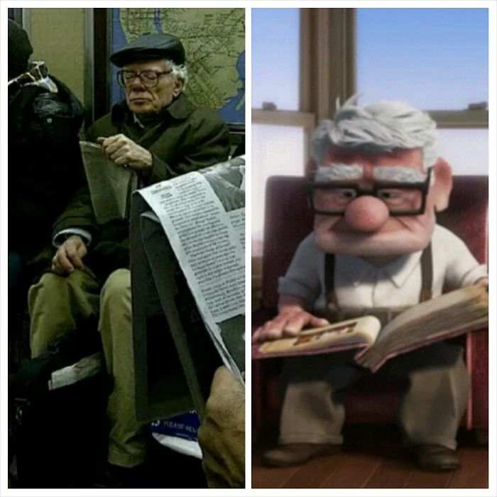 Man In Nyc Subway Looks Like Carl From Up!!