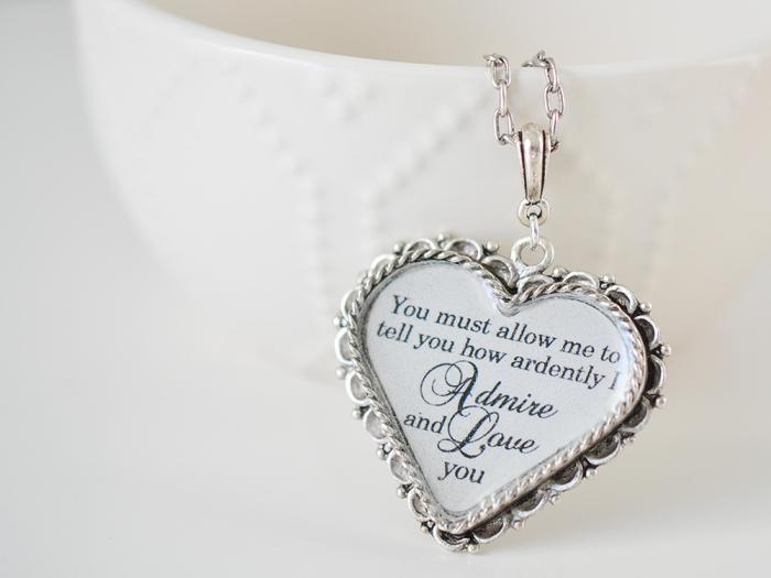 Mr. Darcy's Heart Pride And Prejudice Necklace
