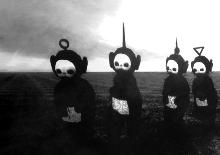 Within hours a new video appeared on youtube with the teletubbies stripped of their vibrant colors and combined with the song atmosphere