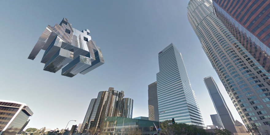 I Designed Space Invaders Using Google Street View Images From Places I Visited In The USA