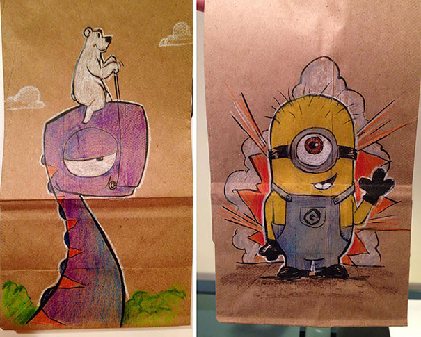 Dad Drew Cool Cartoon Characters On His Son's Lunch Bags Every Day For The Last 2 Years
