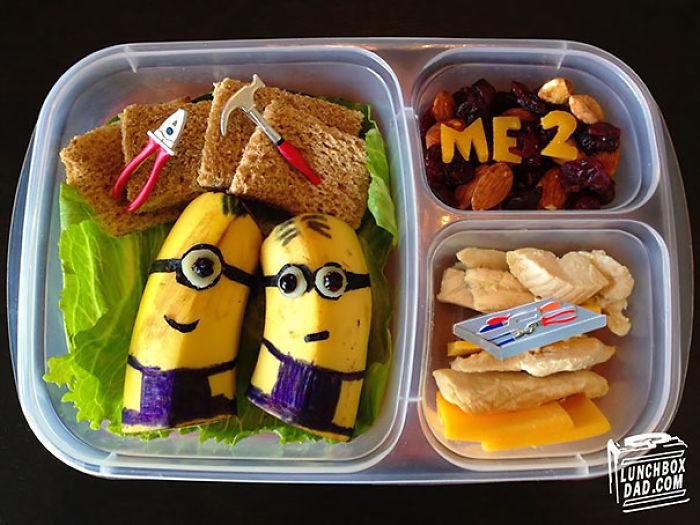 Este padre prepara almuerzos creativos para que su hija se lleve al colegio