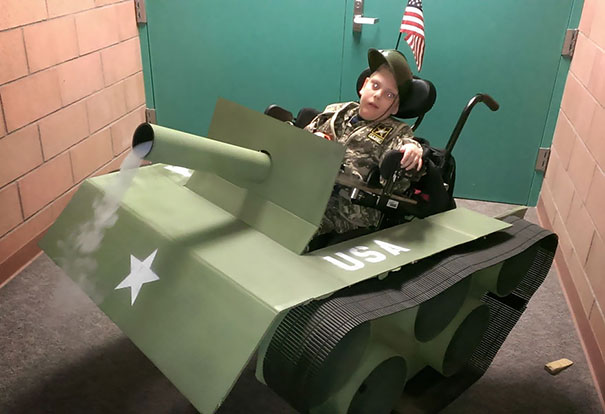 Step-Father Turns His 6-Year-Old Son With A Wheelchair Into A Tank For Halloween