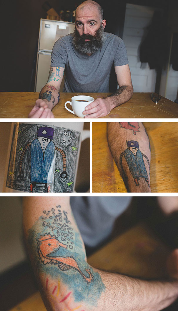 This Dad Has Been Tattooing His Son's Drawings On His Own Arm Since He Was 5