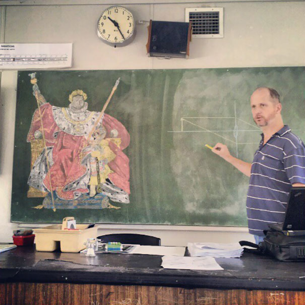 This Science Teacher Teaches In The Crappy Room With A Blackboard So He Can Do His Chalk Drawings