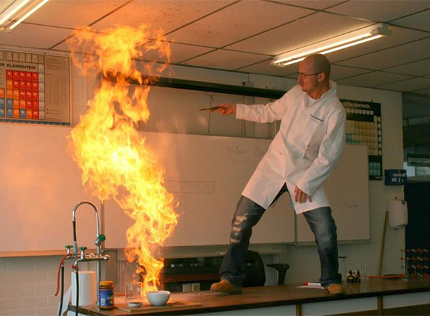 Awesome Teacher Playing With Fire