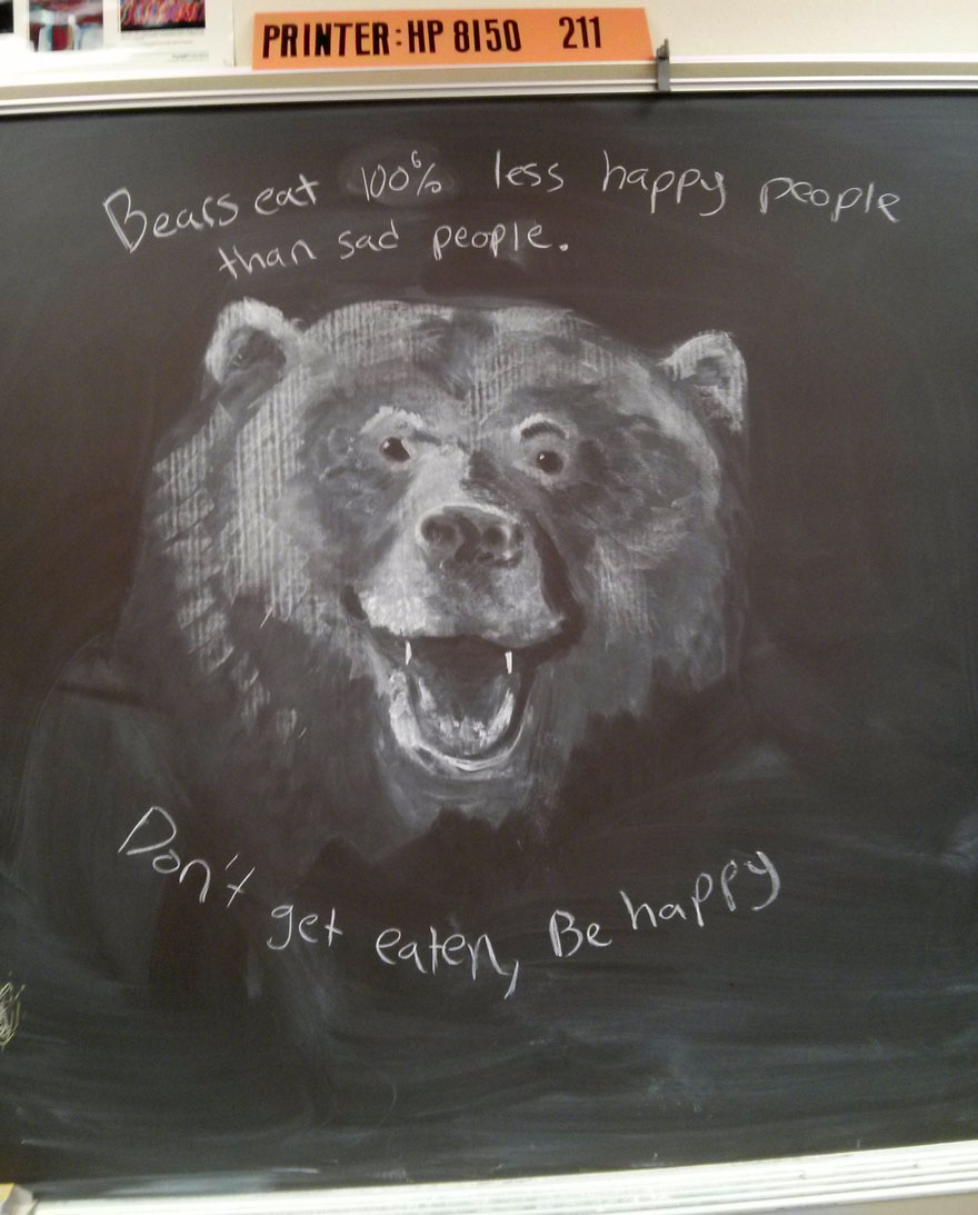 Teacher Draws Stunning Chalkboard Drawings To Inspire His Students