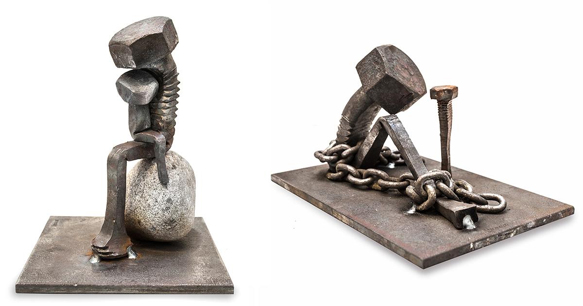 Carvings metalproperties steel sculpture art o c metal