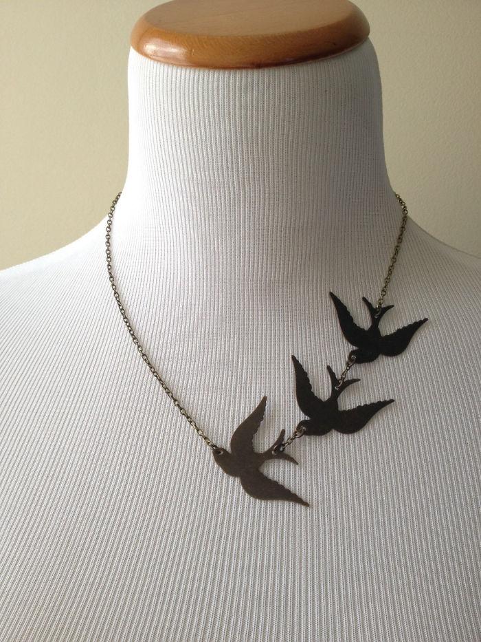 Divergent Bird Tattoo Necklace