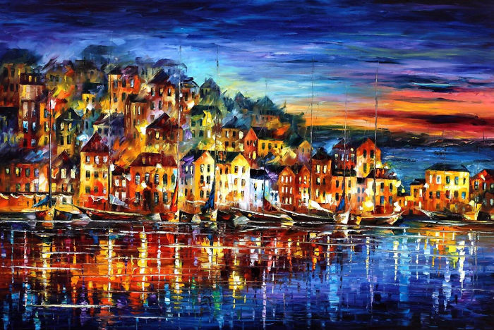 Quiet Town — Palette Knife Cityscape Modern Fine Art Textured Oil Painting On Canvas By Leonid