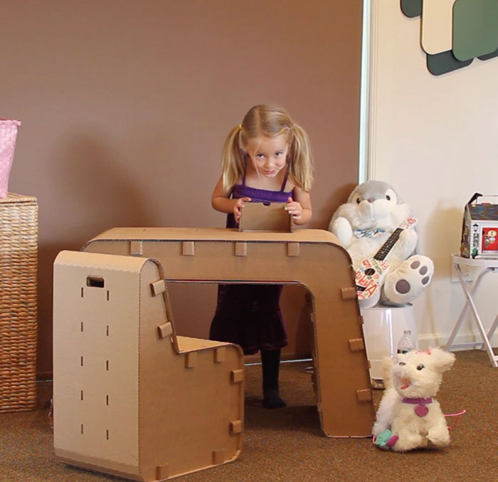 Recyclable Kids' Cardboard Furniture They Can Draw On
