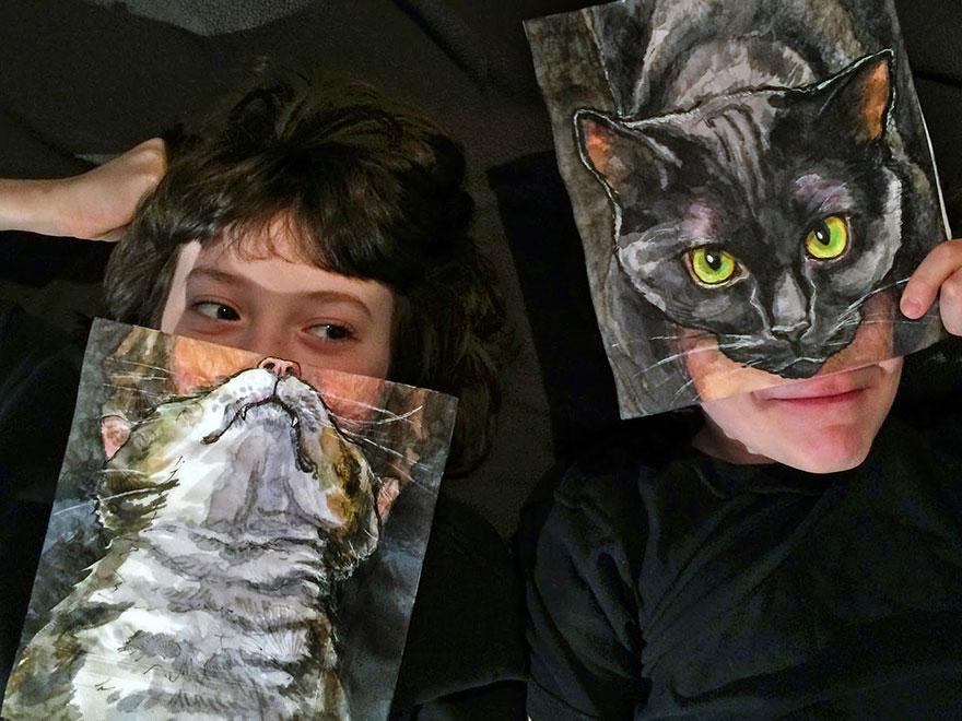 cats-robots-lunchbox-napkins-drawings-nina-levy-16