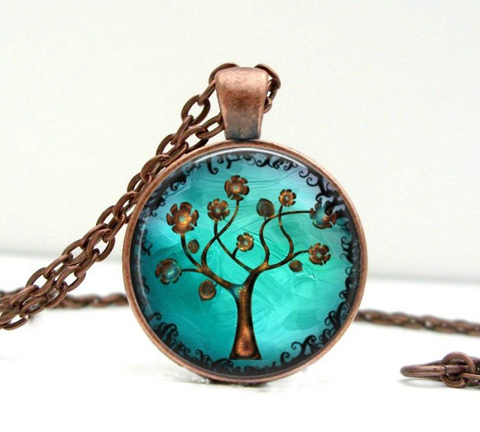 Copper Tree Necklace – Whimsical Fantasy Tree Of Life Artisan Jewelry Gift For Her