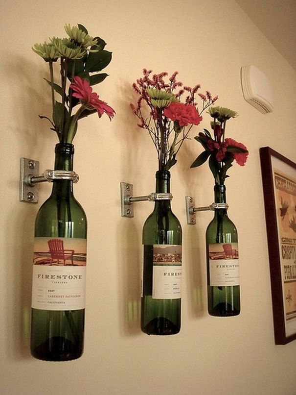 Wine Bottle Flower Holders