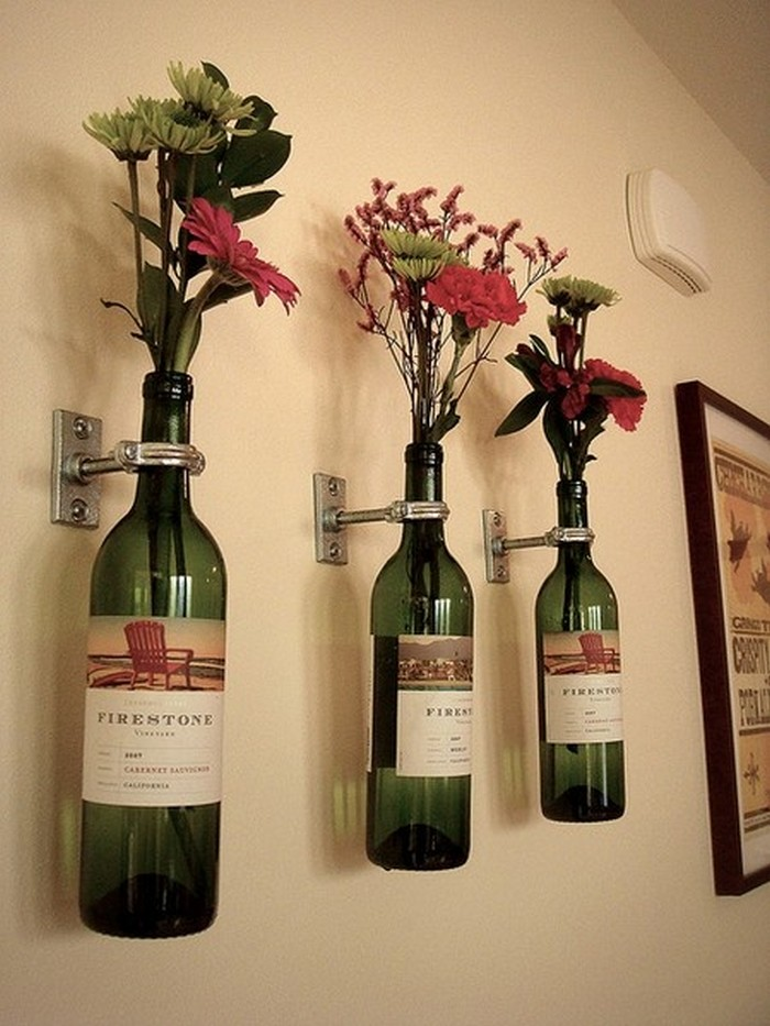 Wine Bottle Flower Holders