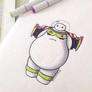 Self-Taught 18-Year-Old Illustrator Reimagines Baymax As Famous Disney Characters