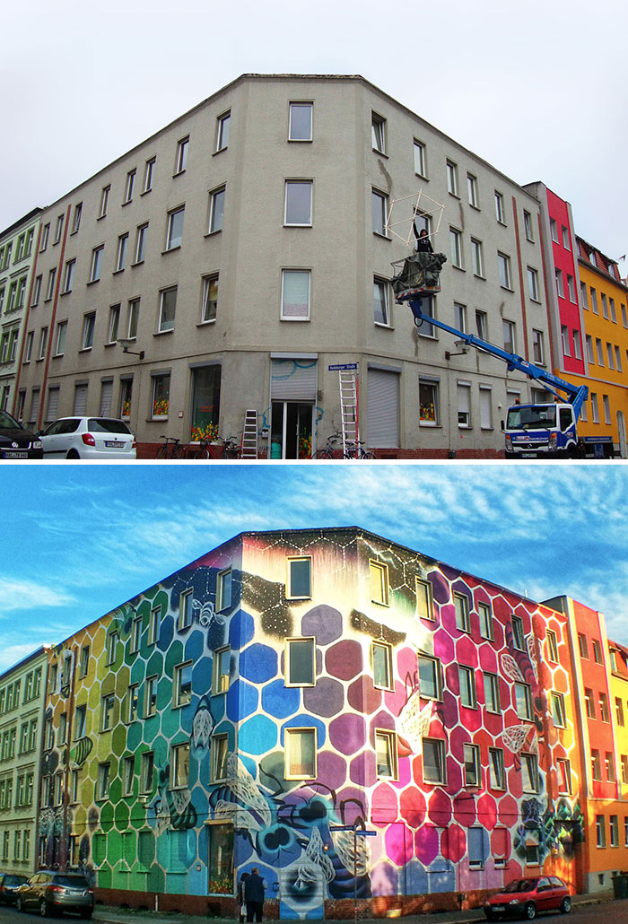 Honeycomb Of Life: I Turned A Dull Building In Germany Into Art