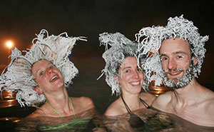 Cold Weather At Hot Springs Lets Canadians Create Crazy Frozen Hairdos