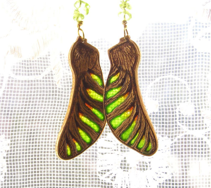 Maple Seed Transparent Glass Earrings