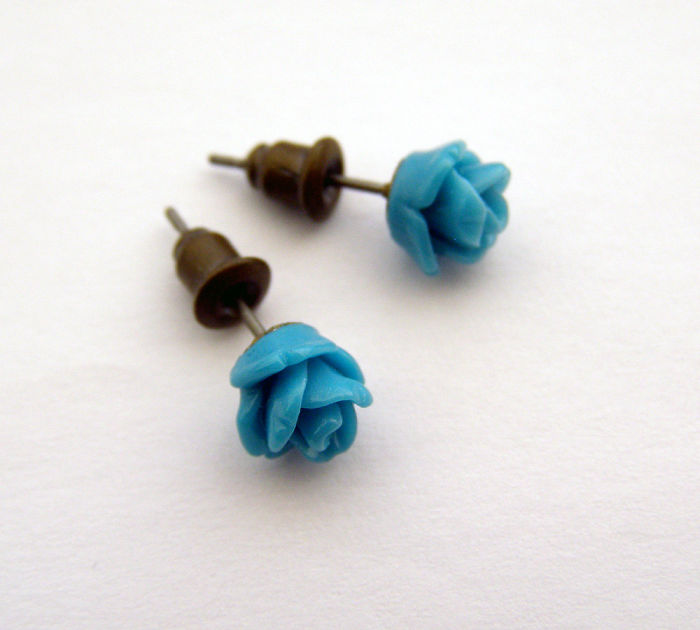 Blue Roses Earrings