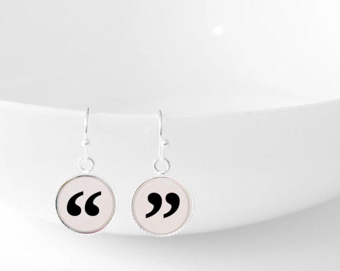 Quotes Dangle Pendant Earrings