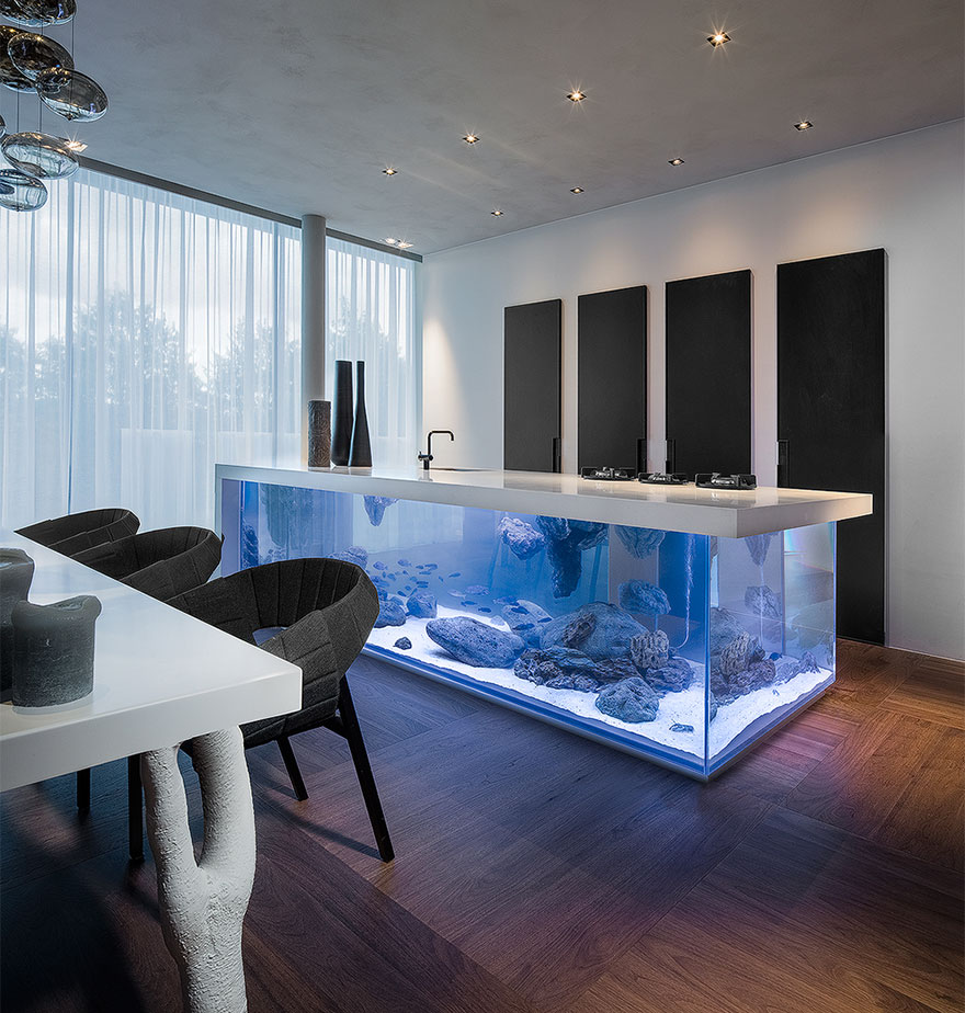 this kitchen island is also a giant aquarium | bored panda