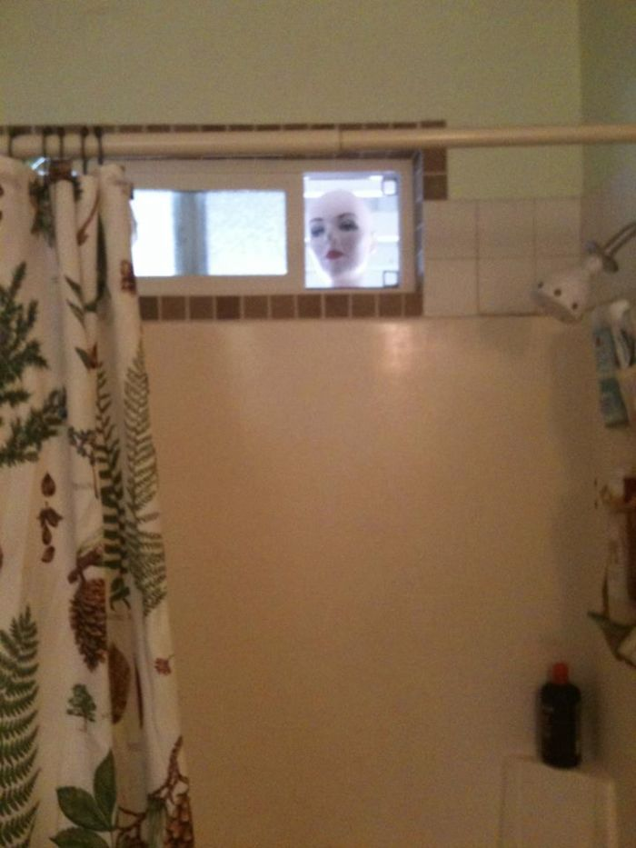 Peeping Tom Mannequin. (good Thing They Were In The Shower When They Peed Themselves)