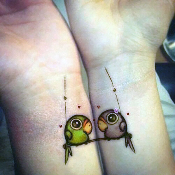 20 matching couple tattoos for lovers that will grow old together bored panda. Black Bedroom Furniture Sets. Home Design Ideas