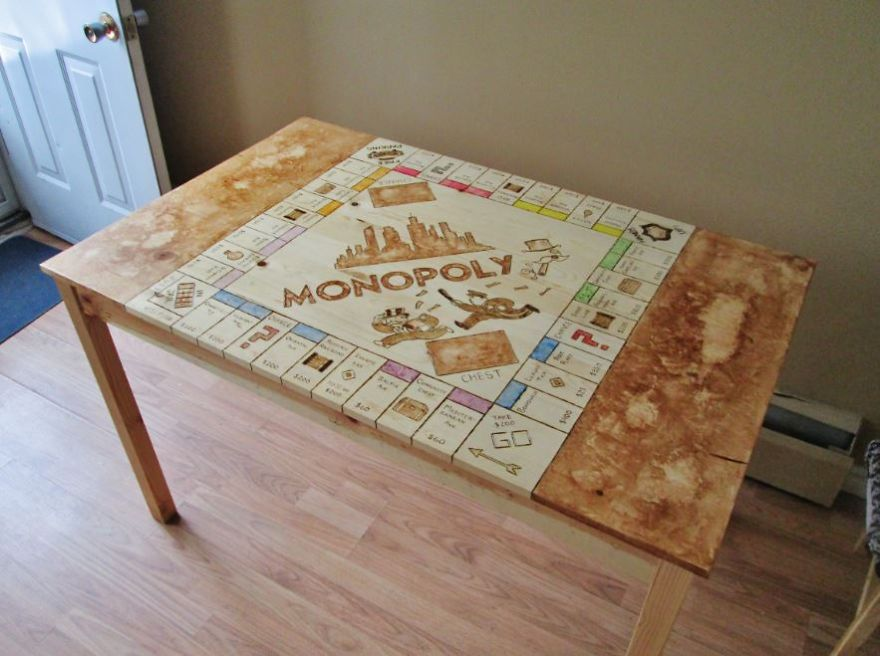 I Spent 40 Hours Transforming My Old Kitchen Table Into A Monopoly Board