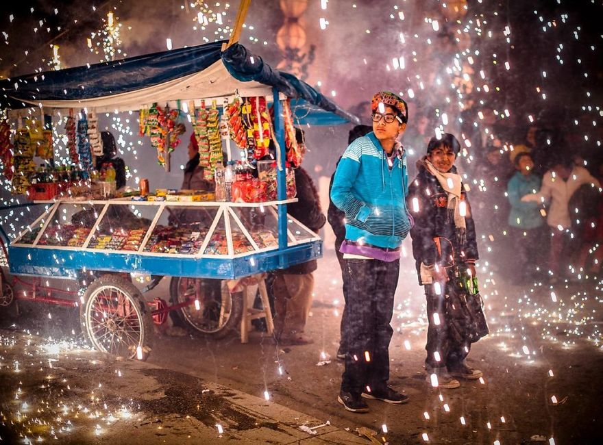 Fireworks Shower Onlookers In Sparks During Holy Week Celebrations, Acobamba, Tarma, Peru