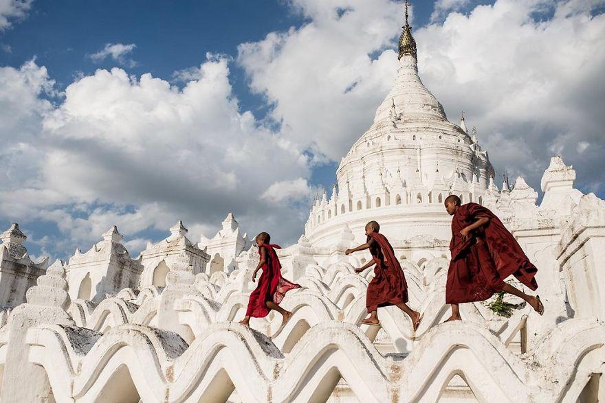 Young Buddhist Novices Play In Hsinbyume Pagoda, Mingun, Mandalay, Myanmar