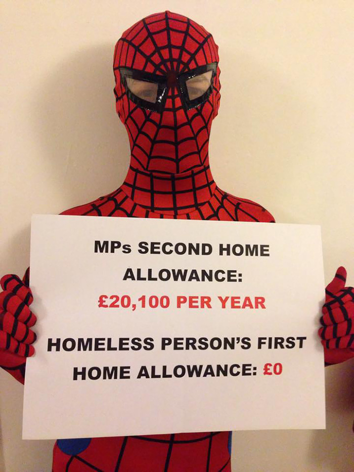 Anonymous 'Spider-Man' Feeds Homeless At Night Spider-man-helps-feeds-homeless-birmingham-uk-10