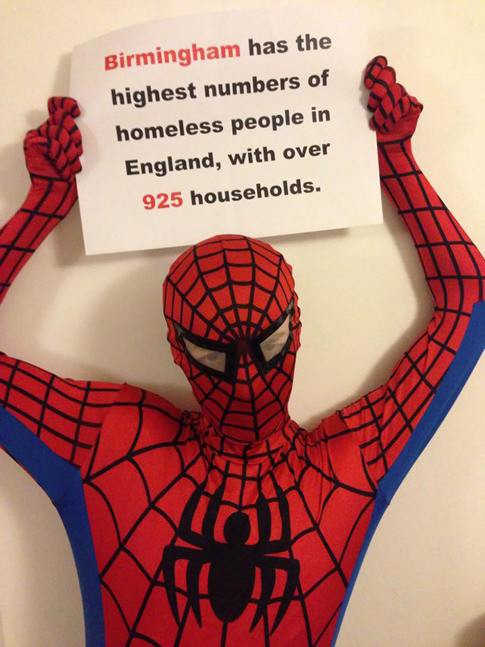 Anonymous 'Spider-Man' Feeds Homeless At Night Spider-man-helps-feeds-homeless-birmingham-uk-2